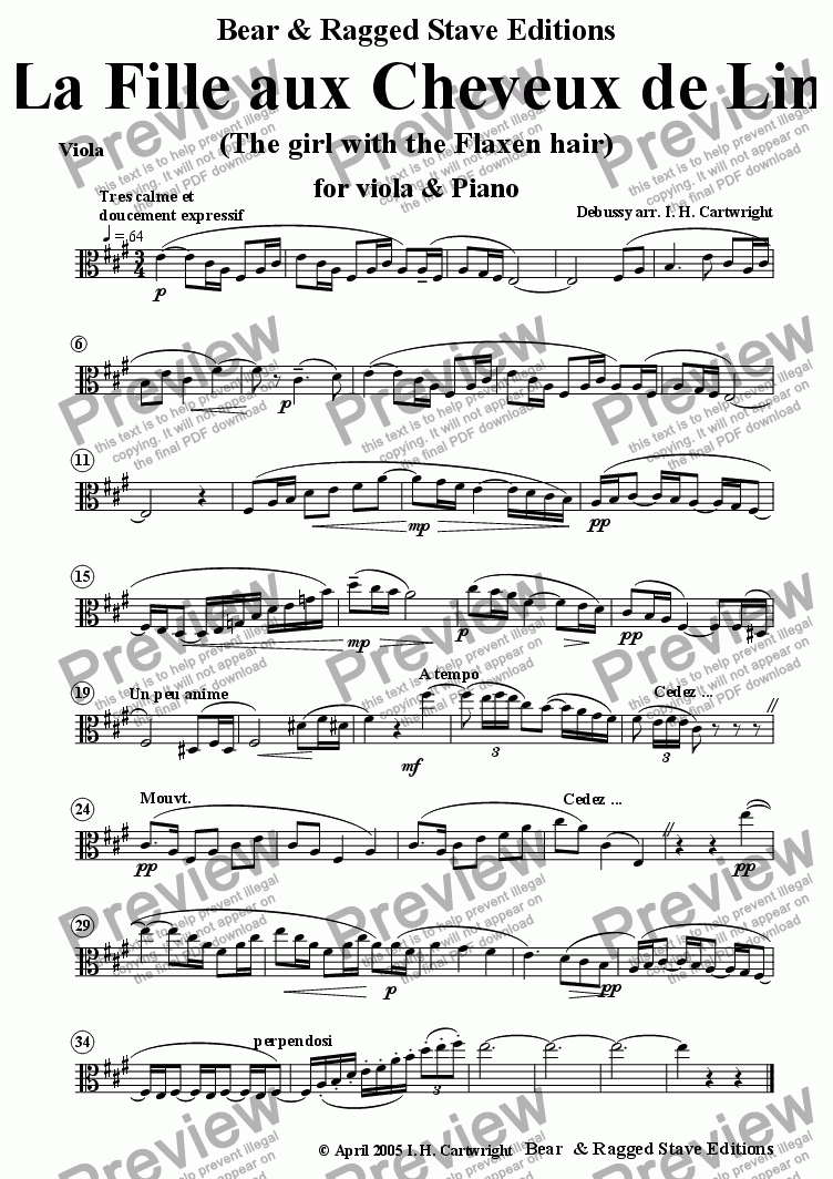 page one of the Viola part from The Girl with the Flaxen Hair for viola solo & piano