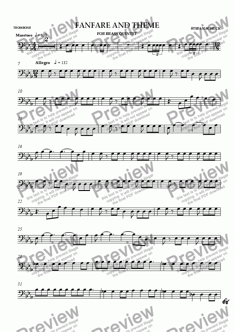 page one of the Trombone part from Fanfare and Theme