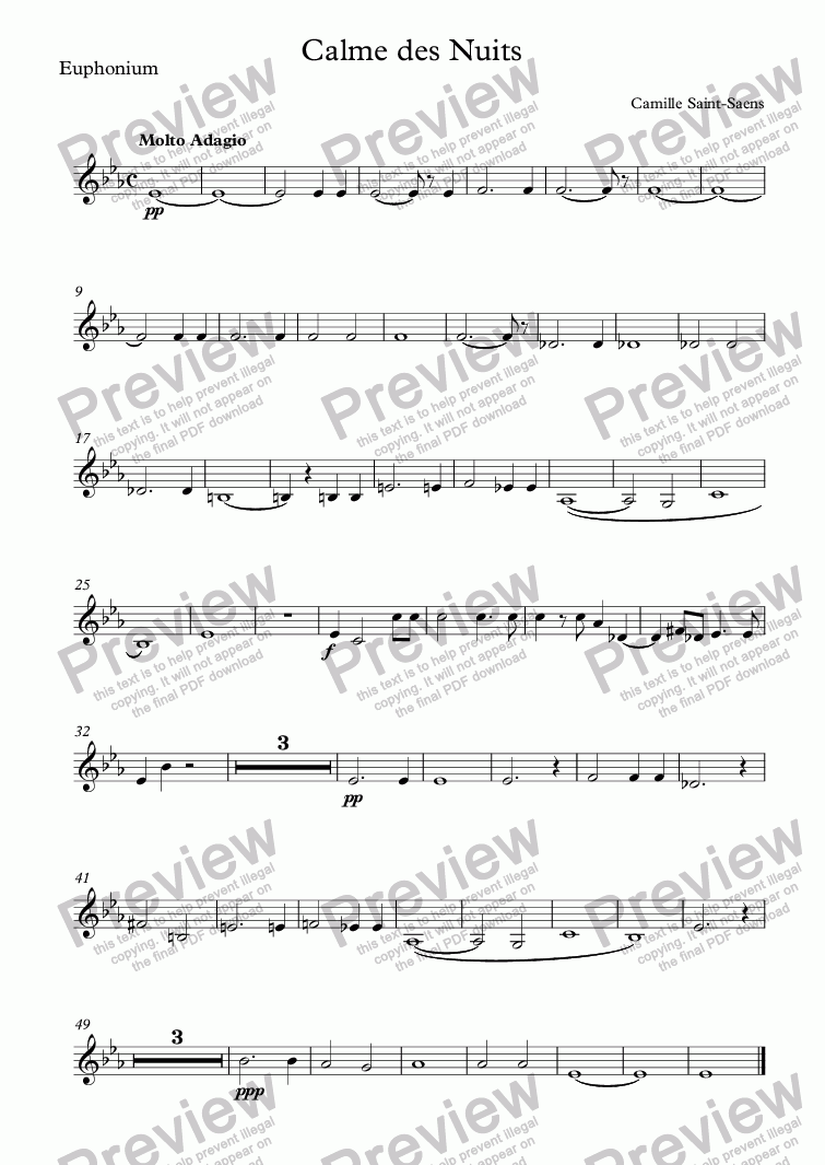 page one of the Euphonium part from Calme des Nuits