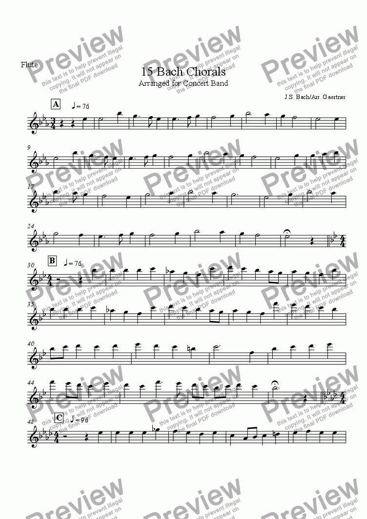 page one of the Flute part from 15 Bach Chorals Arranged for Band