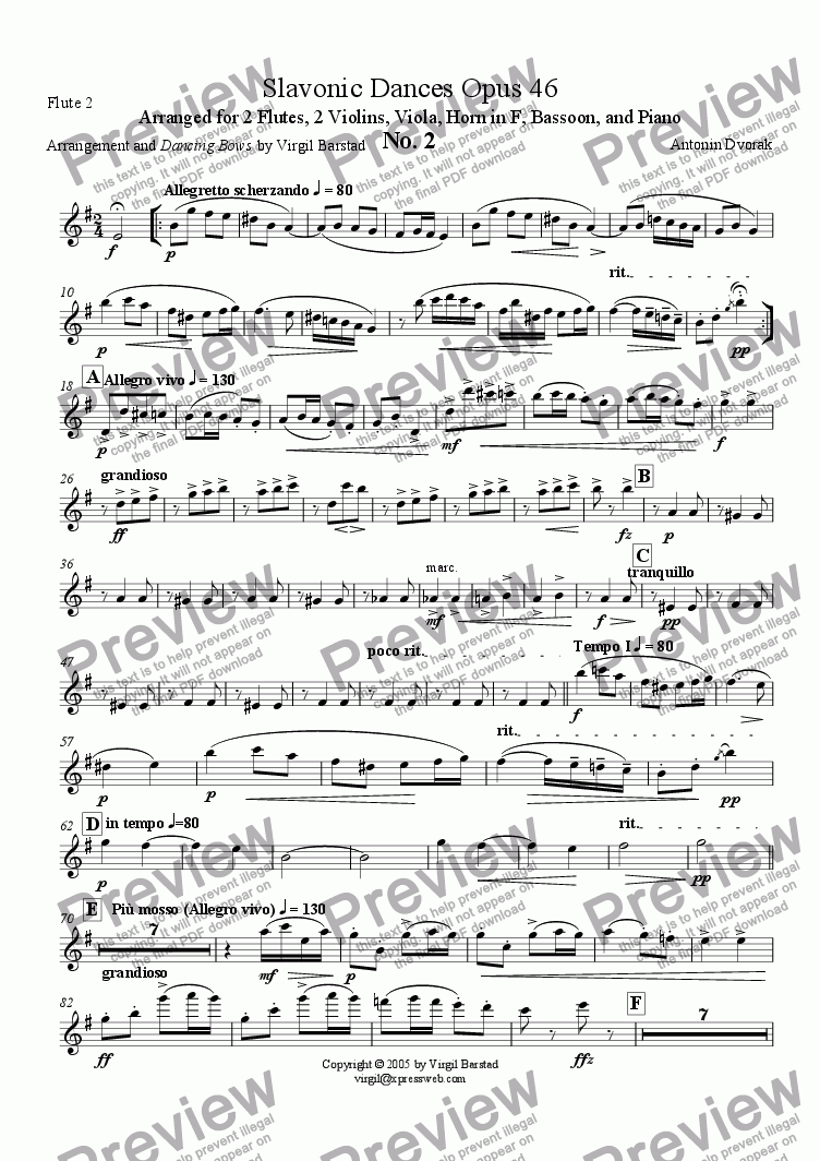 page one of the Flute 2 part from Slavonic Dances Op 46 - 2