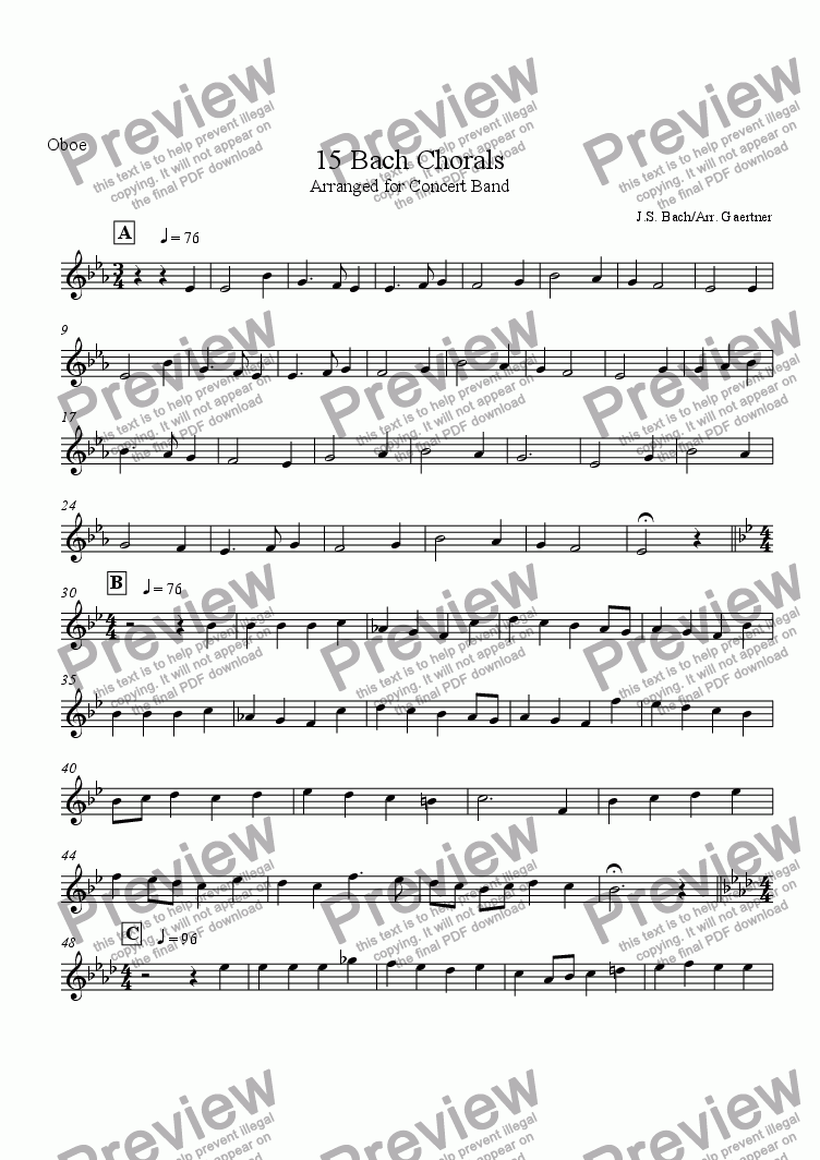 page one of the Oboe part from 15 Bach Chorals Arranged for Band