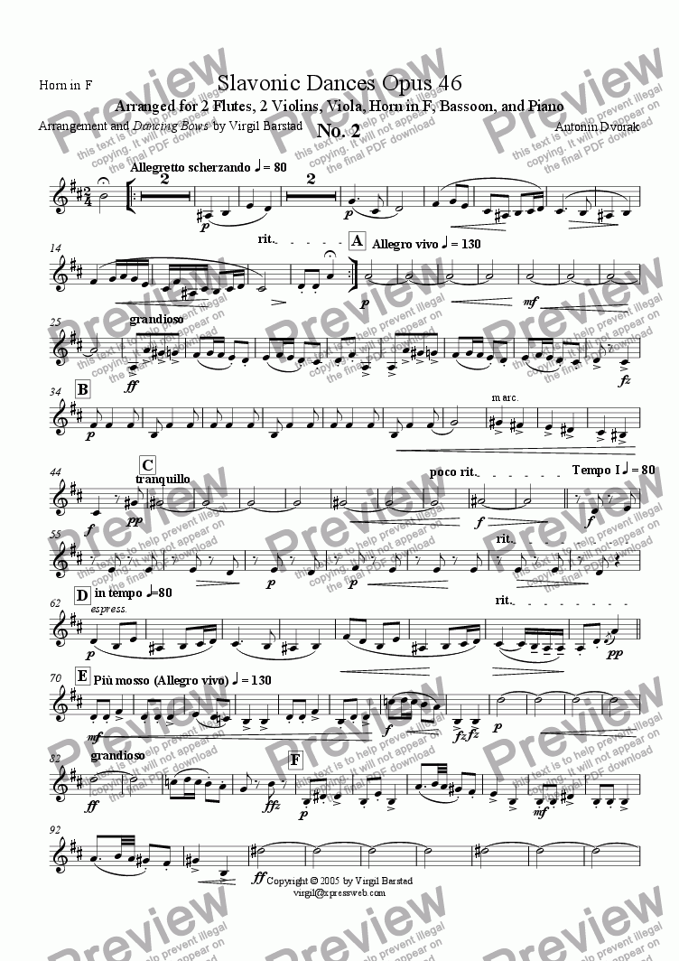 page one of the Horn in F 2 part from Slavonic Dances Op 46 - 2