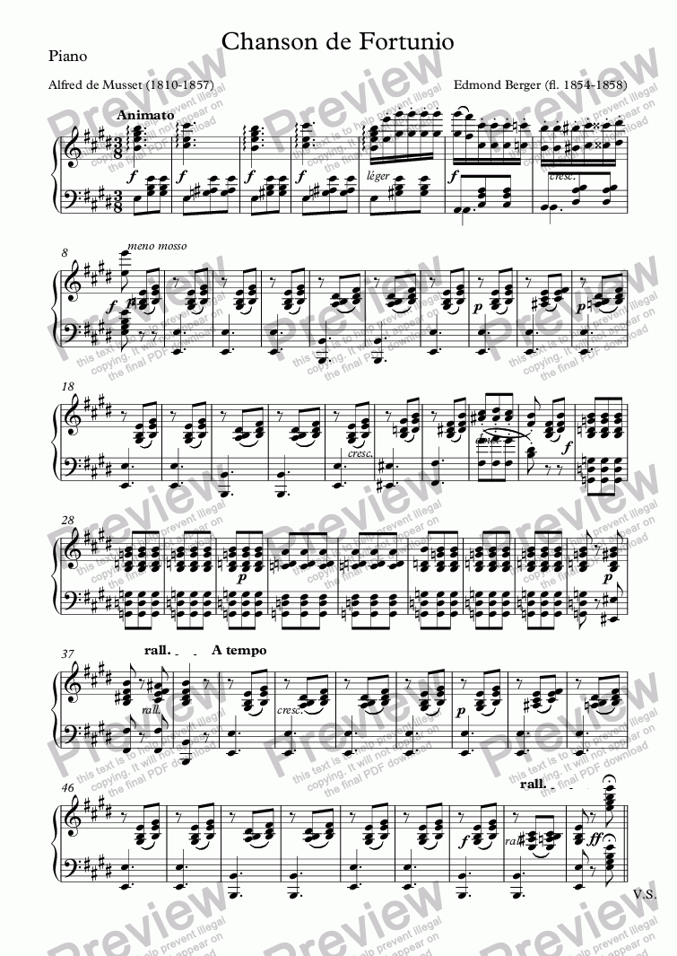 page one of the Piano part from Chanson de Fortunio (Edmond Berger / Musset)