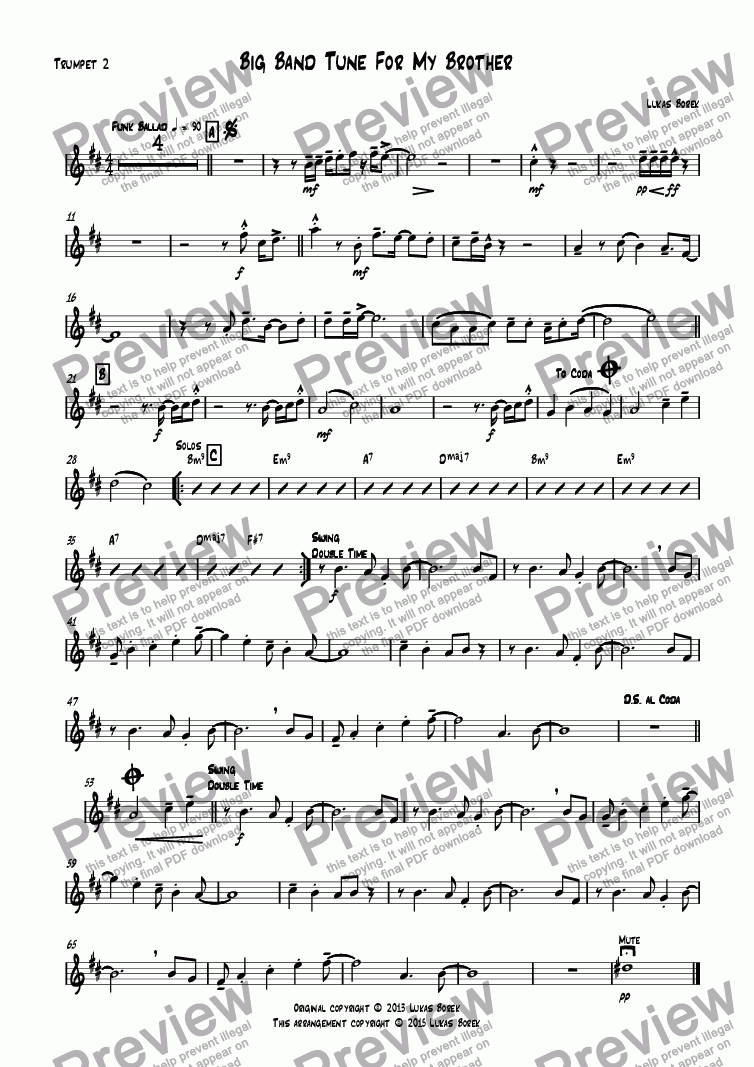 page one of the Trumpet 2 part from Big Band Tune For My Brother