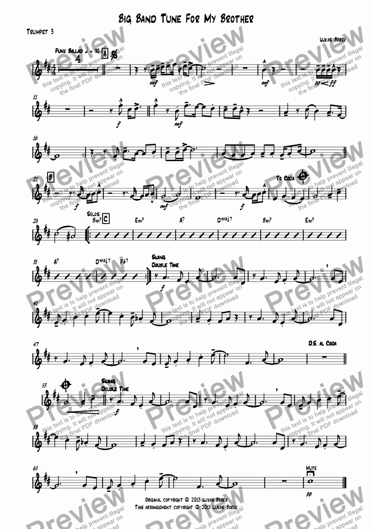 page one of the Trumpet 3 part from Big Band Tune For My Brother