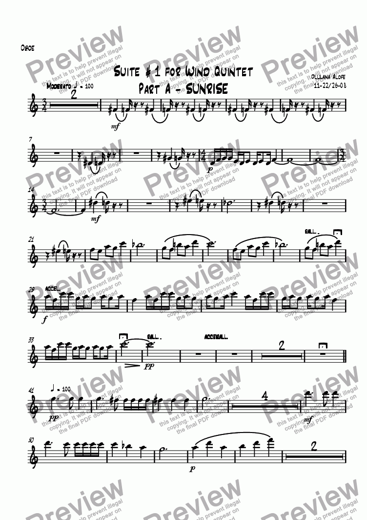 page one of the Oboe part from Suite #1 For Wind Quintet