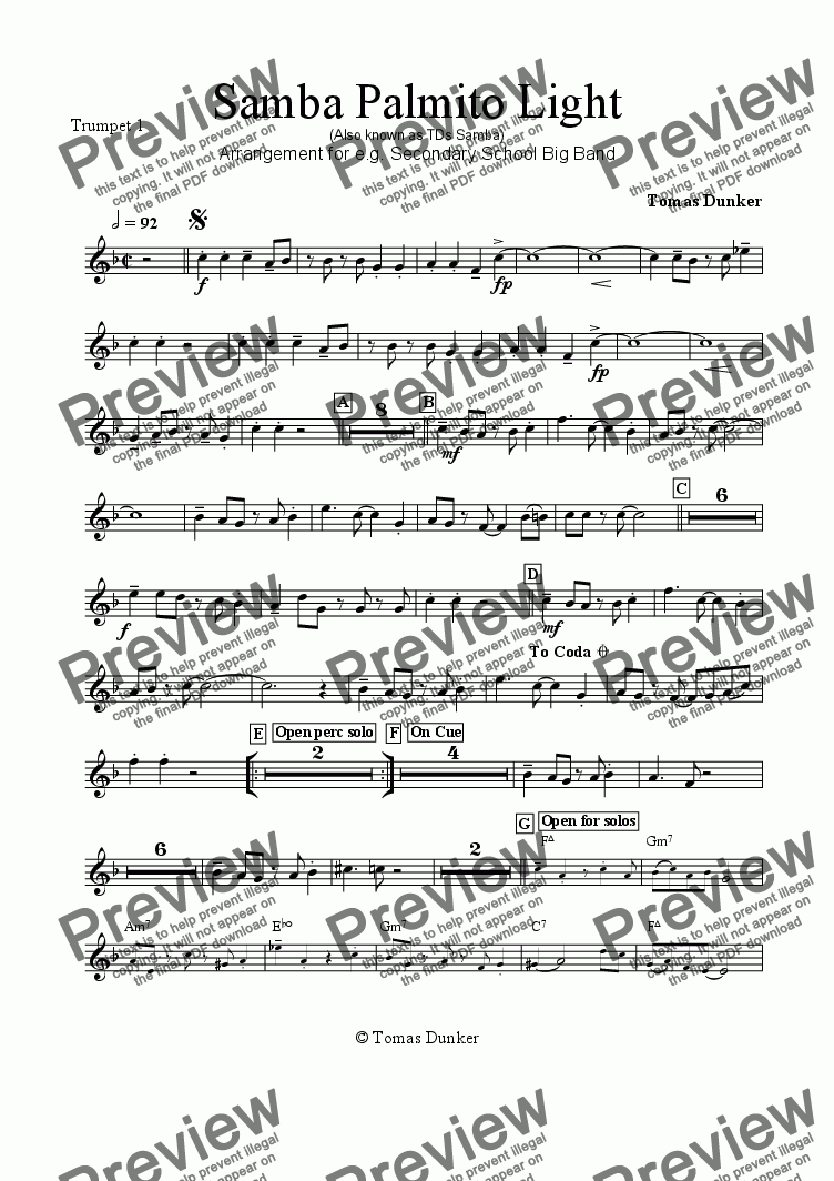 page one of the Trumpet 1 part from SAMBA PALMITO Light (for BigBand)