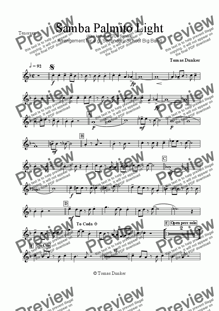 page one of the Tenorsax 2 part from SAMBA PALMITO Light (for BigBand)