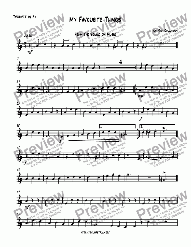 All Music Chords free trumpet solo sheet music : Trumpet 1 part from My Favourite Things - Download PDF file