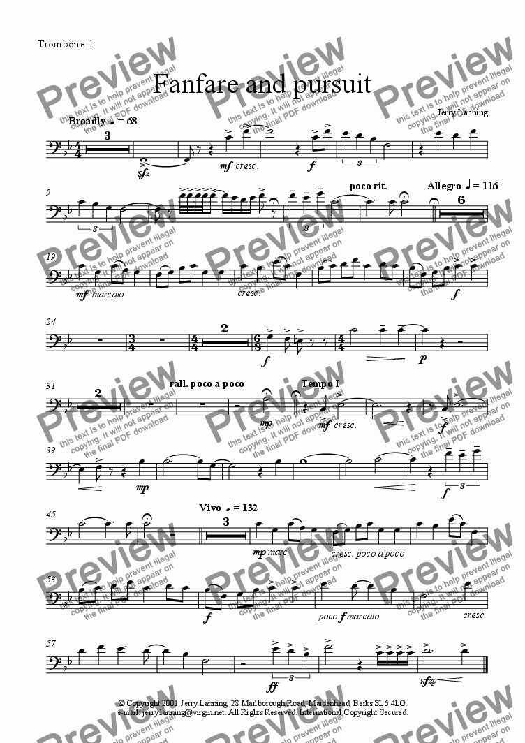 page one of the Trombone 1 part from Fanfare and Pursuit (brass ensemble)