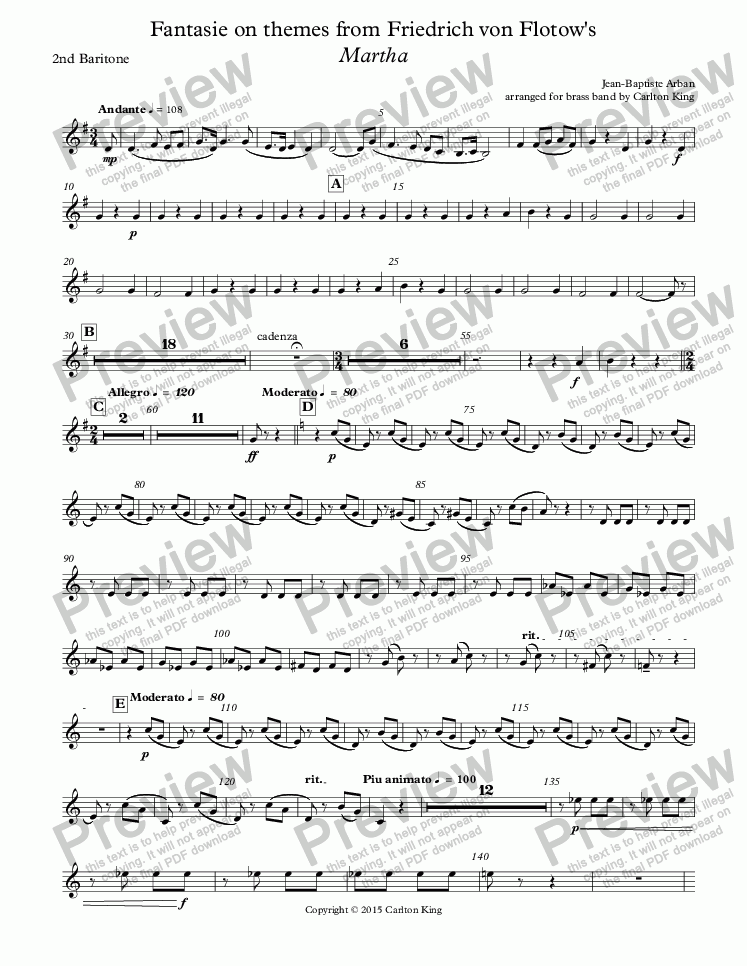 page one of the 2nd Baritone part from Fantasie on themes from Friedrich von Flotow's Martha