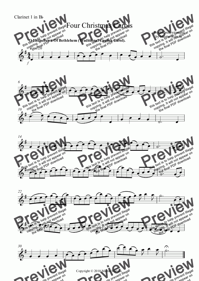 page one of the Clarinet 1 in B^b part from Four Christmas Carols for Clarinet Quartet