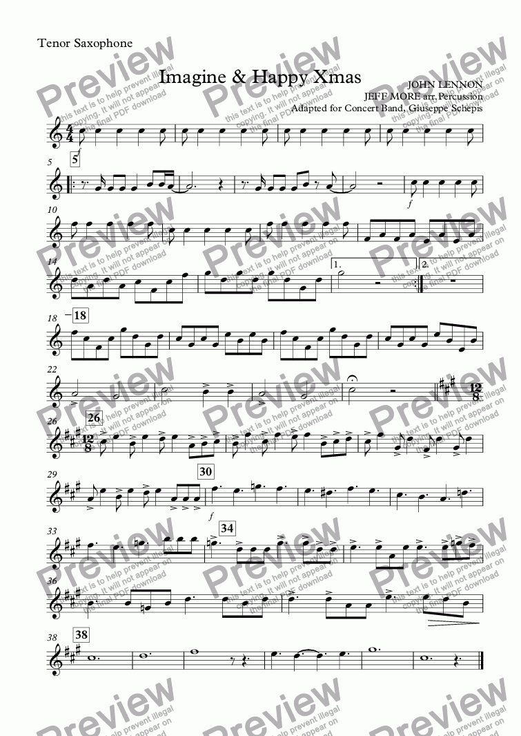 page one of the Tenor Saxophone part from Imagine & Happy Xmas