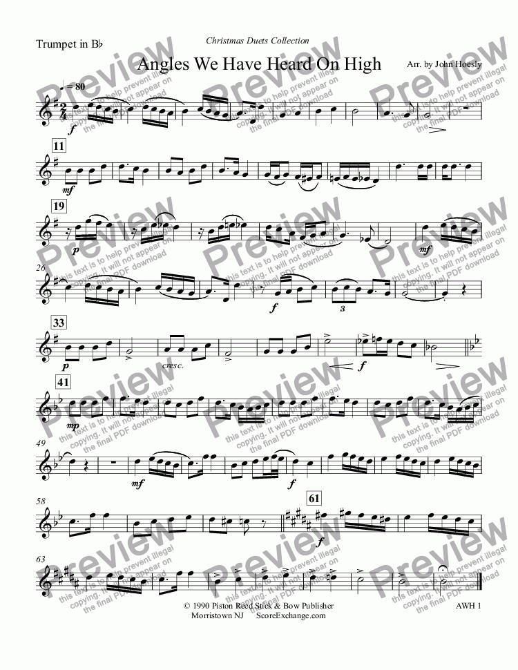 page one of the Trumpet in B^b part from Angles We Have Heard On High- duet trumpet and tuba