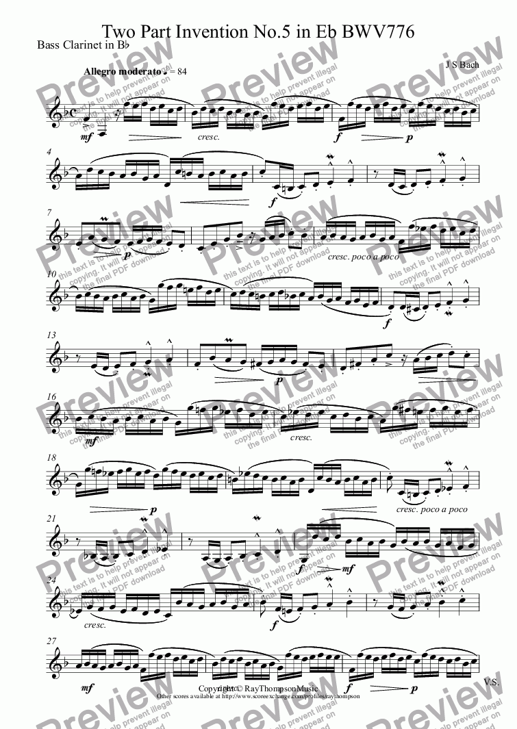 page one of the Bass Clarinet in B^b part from Bach: Two Part Invention No.5 in Eb BWV776 arr. clarinet duet (opt.bass clarinet)