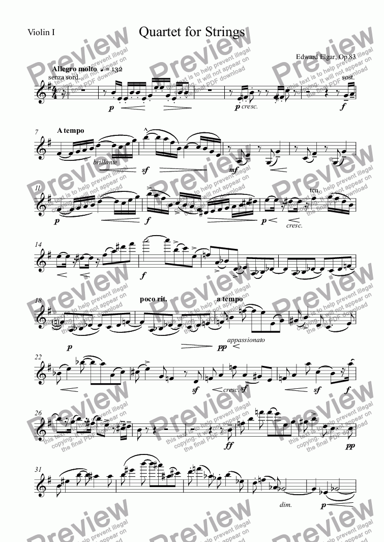 page one of the Violin I part from Quartet for Strings