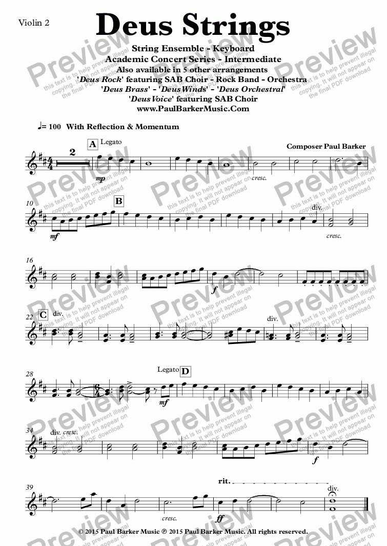 page one of the Violin 2 part from Deus Strings