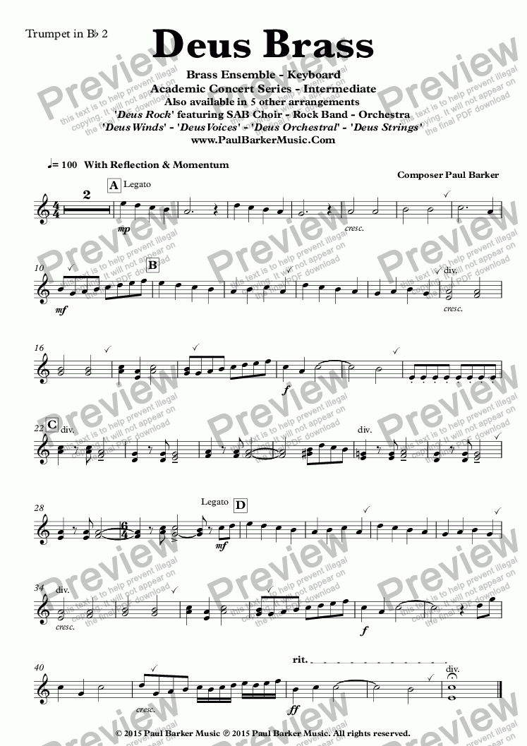 page one of the Trumpet in B^b 2 part from Deus Brass (Brass Ensemble)