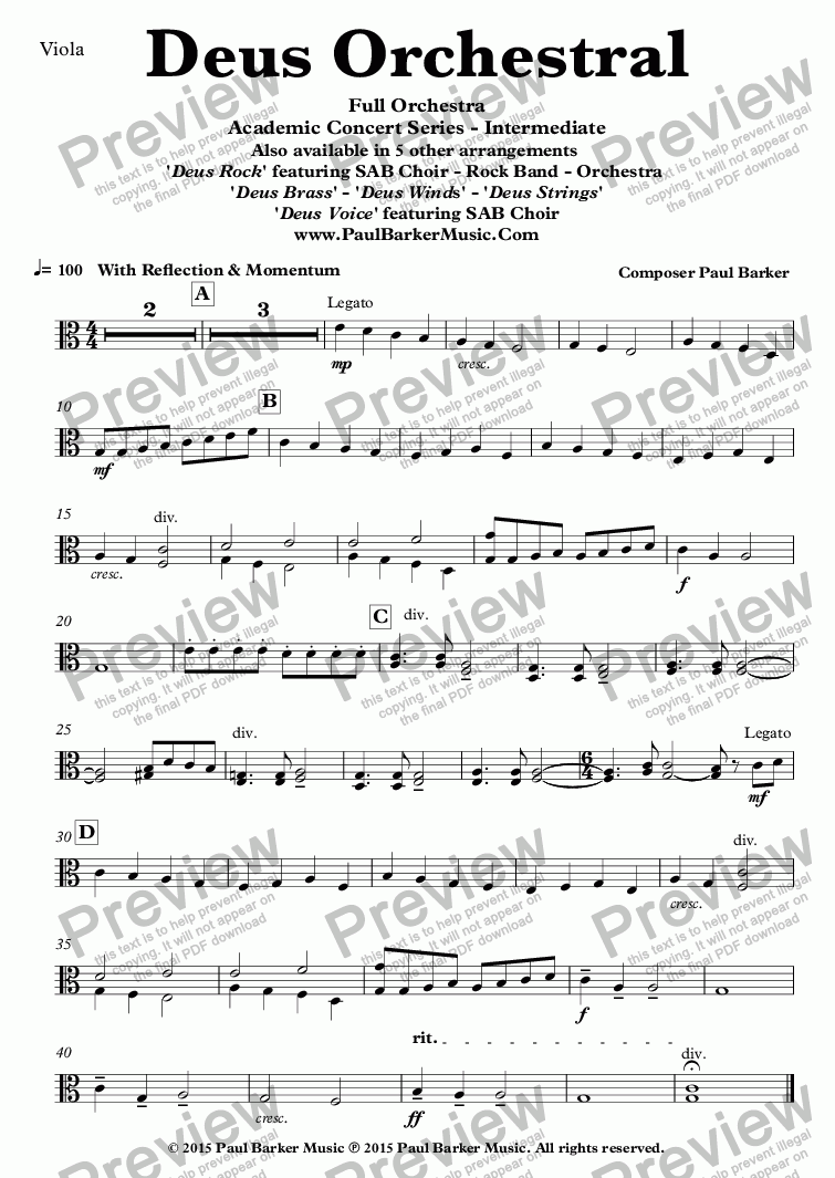 page one of the Viola part from Deus Orchestral