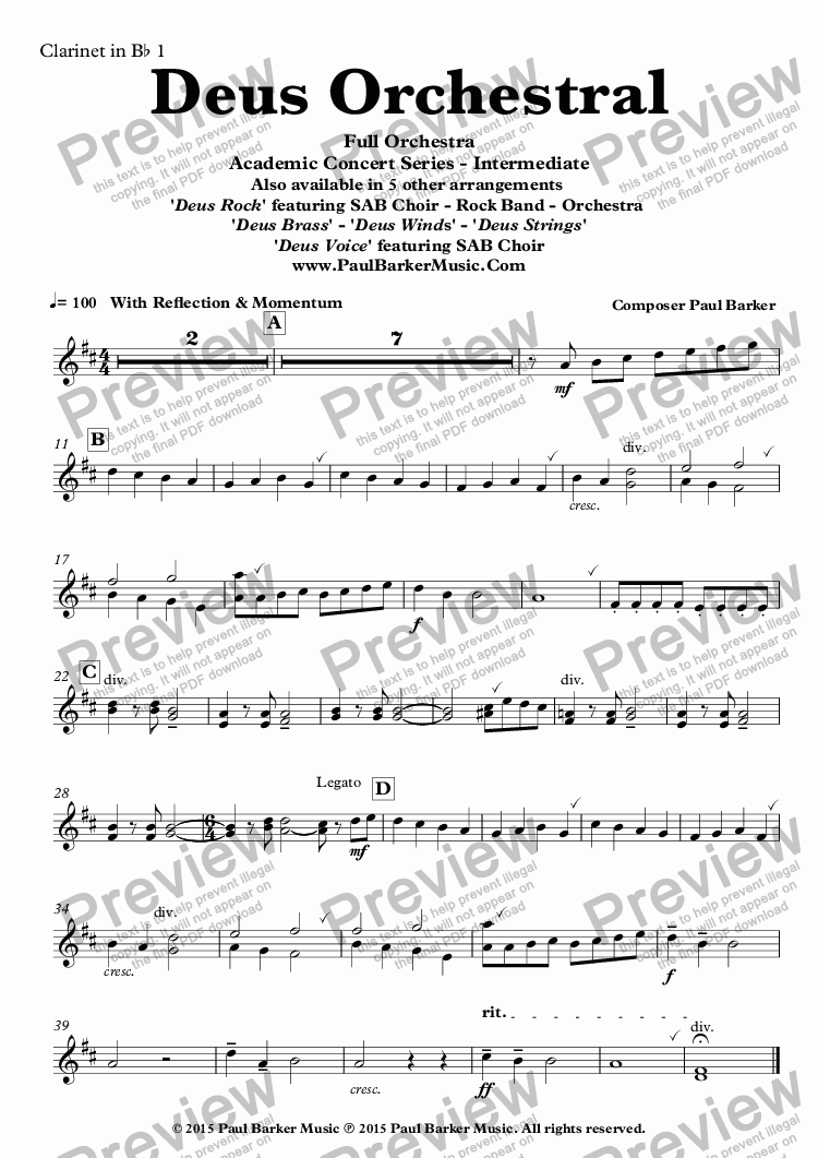 page one of the Clarinet in B^b 1 part from Deus Orchestral