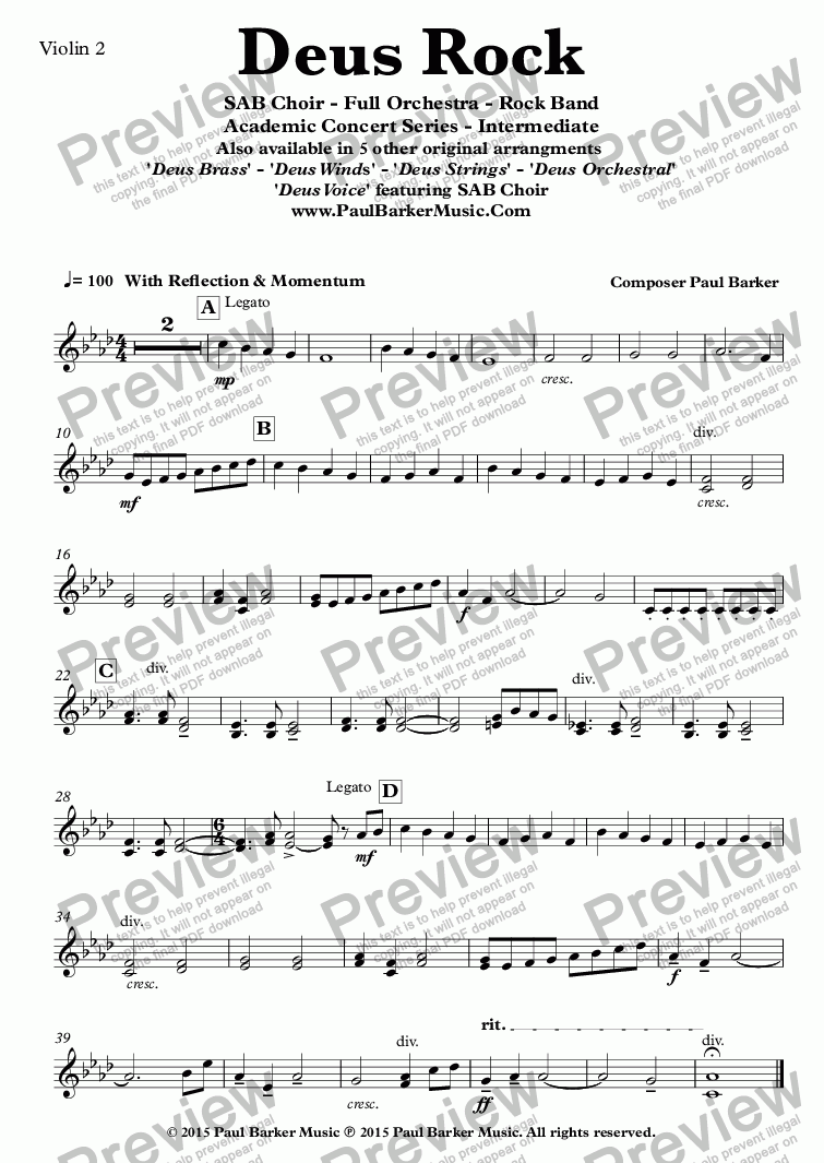 page one of the Violin 2 part from Deus Rock