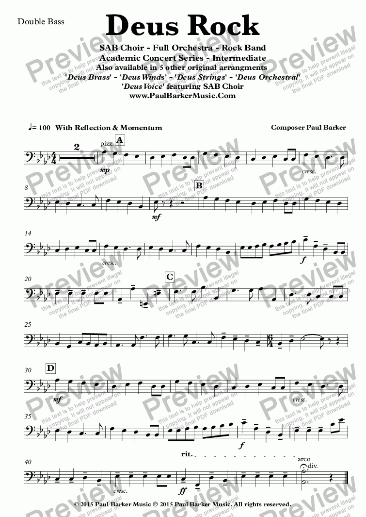 page one of the Double Bass part from Deus Rock