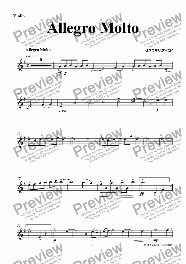 page one of the Violin part from Allegro Molto