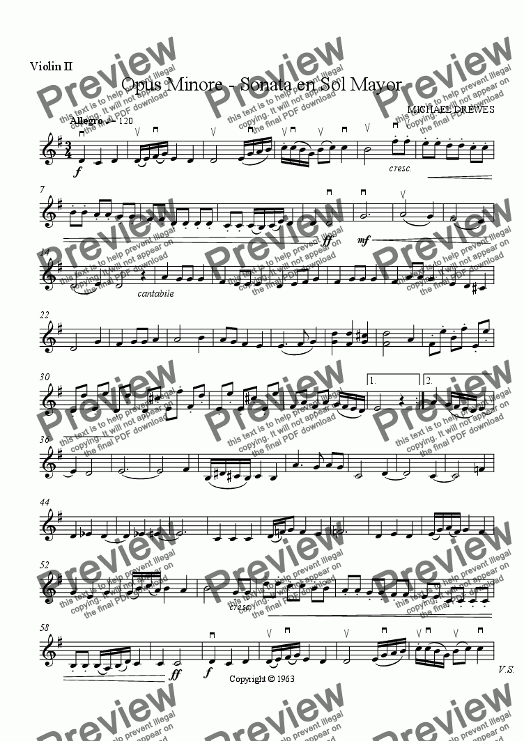 page one of the Violin II part from Sonata in G Major