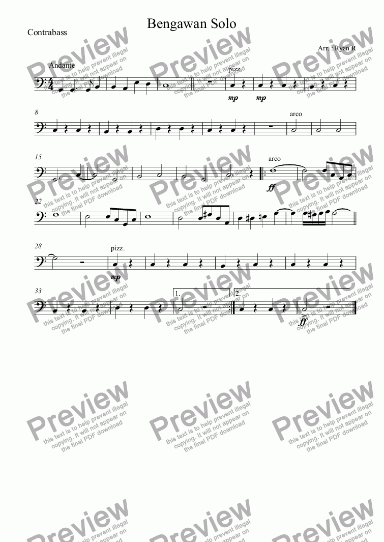 page one of the Contrabass part from Bengawan Solo