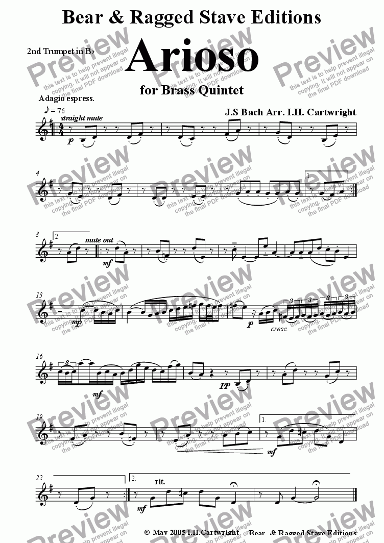 page one of the 2nd Bb trumpet part from Arioso for brass quintet
