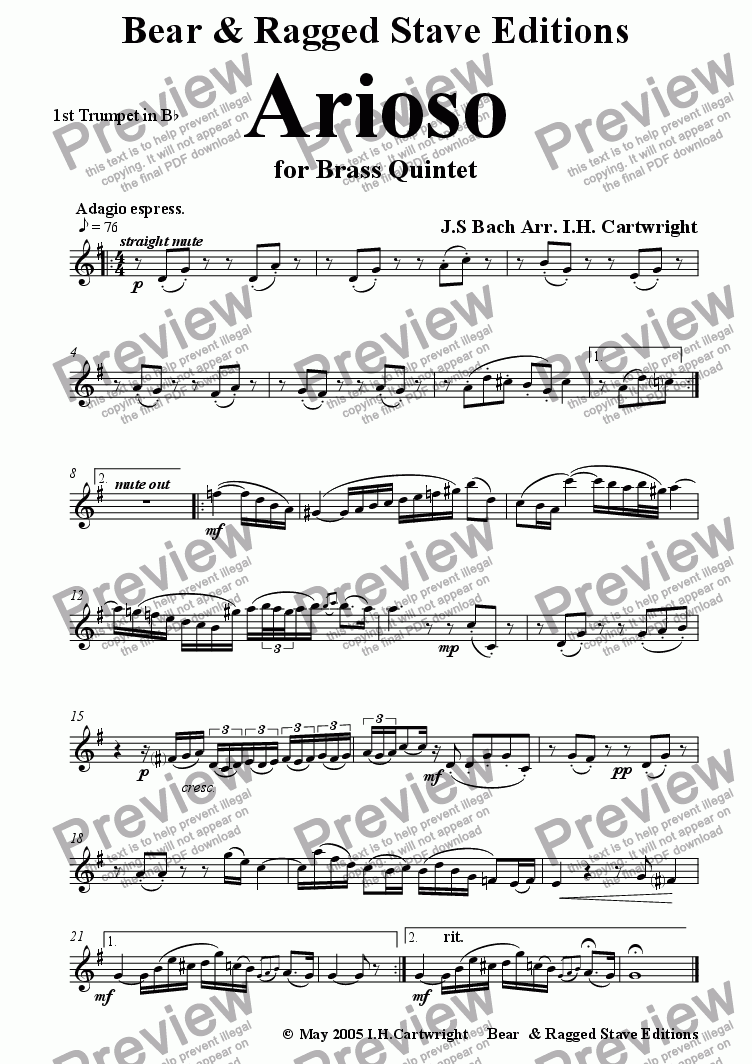 page one of the 1st Bb trumpet part from Arioso for brass quintet
