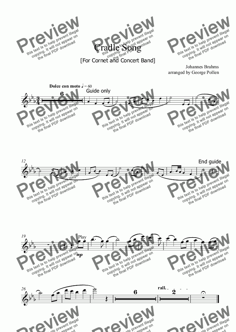 page one of the Flute part from Cradle Song (Solo Cornet and Concert Band)