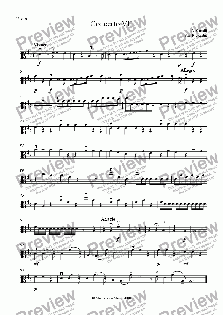 page one of the Viola part from Concerto VII Opus VI