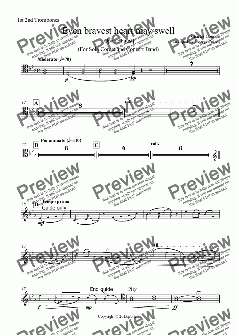 page one of the 1st 2nd Trombones part from Even bravest heart may swell (For Solo Cornet and Concert Band)