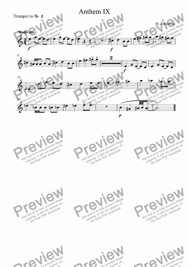 page one of the Trumpet in B^b^ ^1 part from Anthem IX