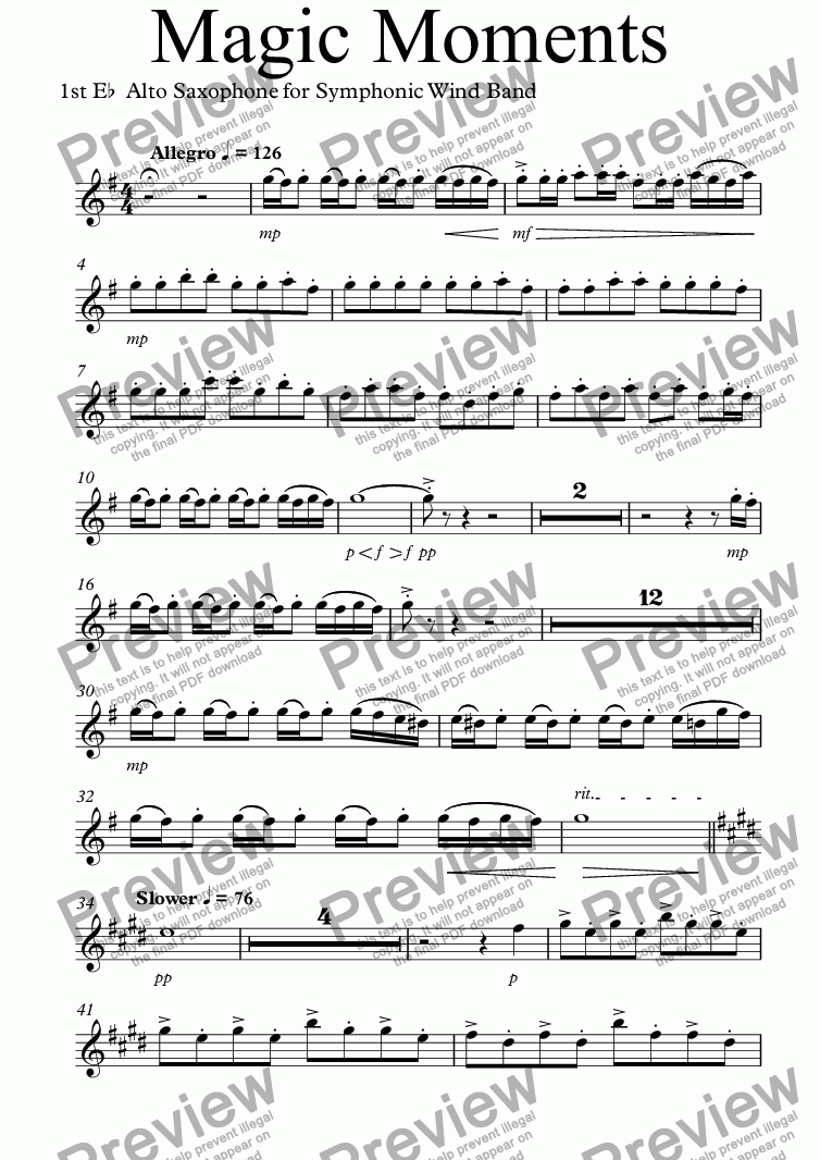 page one of the 1st E^b^ Alto Saxophone part from Magic Moments