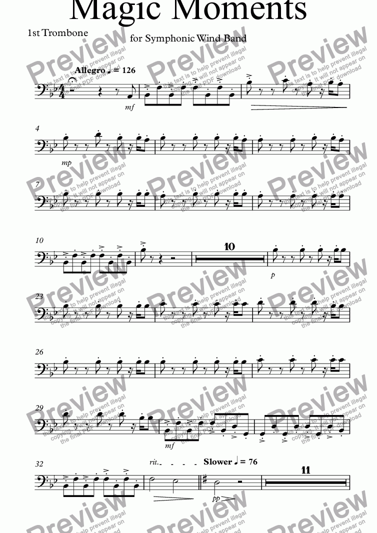 page one of the 1st Trombone part from Magic Moments