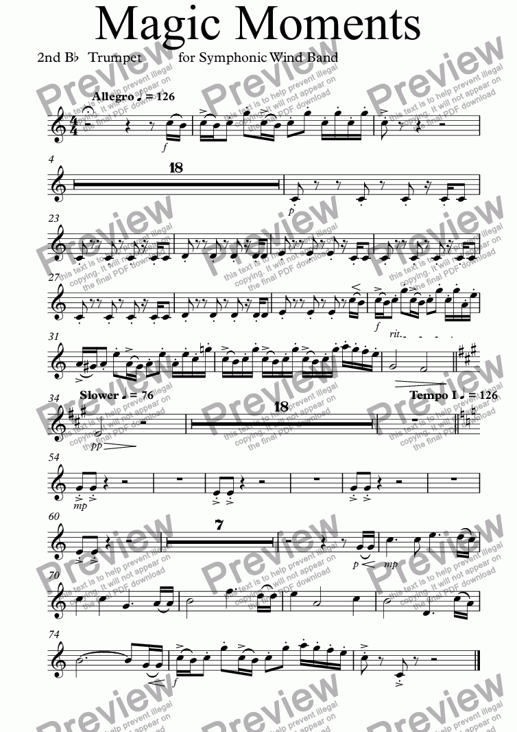 page one of the 2nd B^b^  Trumpet part from Magic Moments