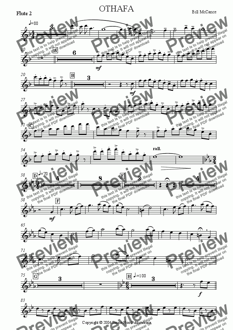 page one of the Flute 2 part from OTHAFA