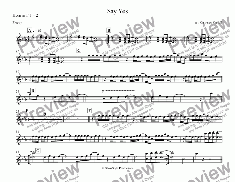 page one of the Horn in F 1 + 2 part from Say Yes