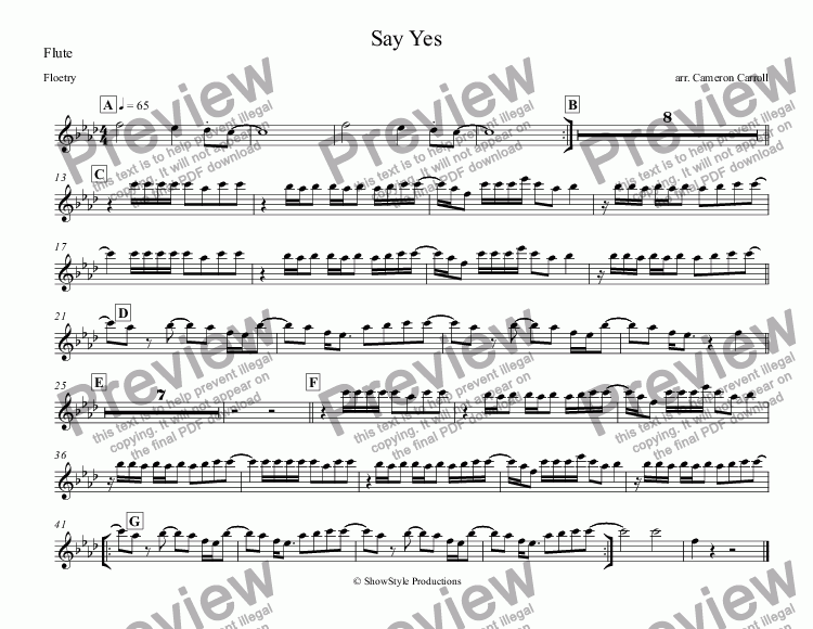 page one of the Flute part from Say Yes