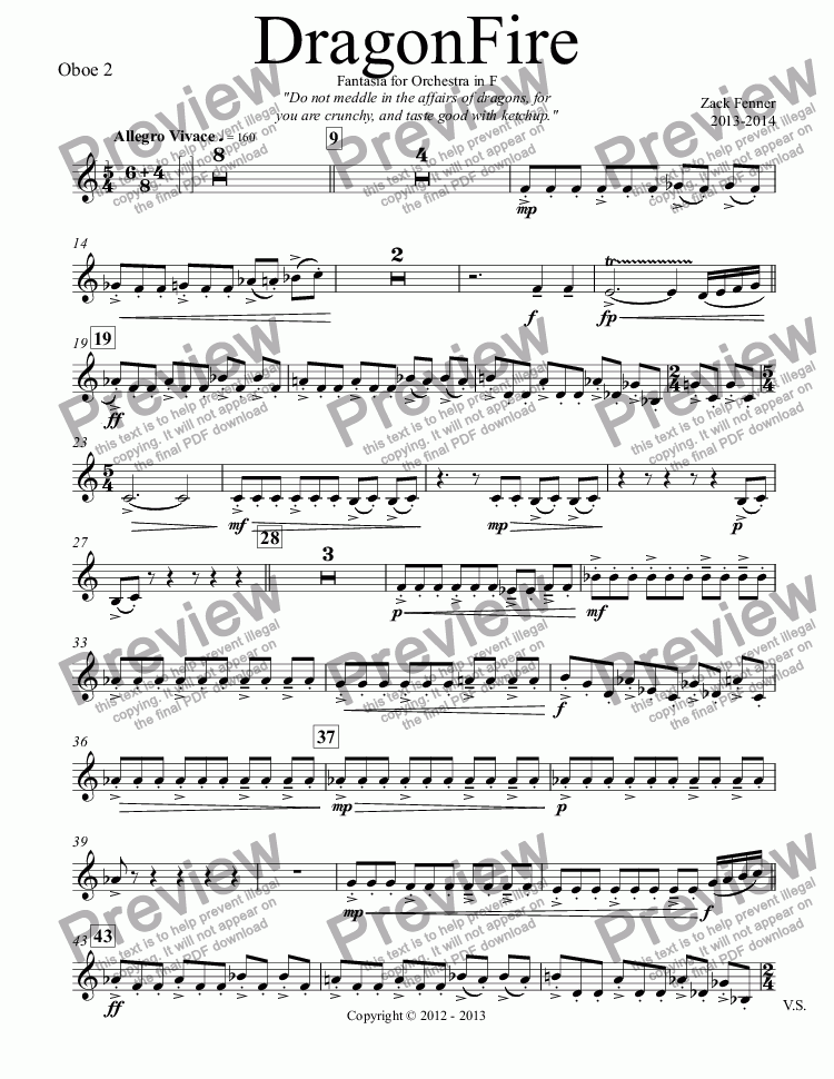 page one of the Oboe 2 part from DragonFire