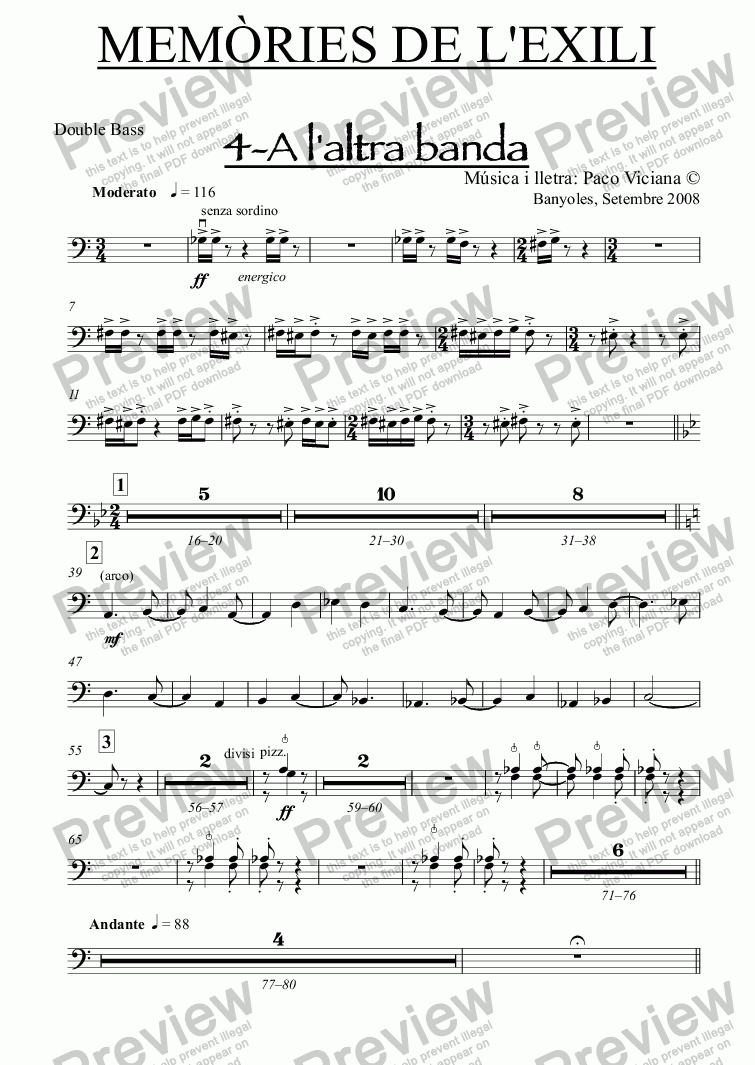 page one of the Double Bass part from 238-Memòries de l'Exili (4-A l'altra banda)