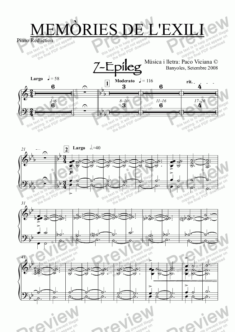 page one of the Piano Reduction part from 238-Memòries de l'Exili (7-Epìleg)
