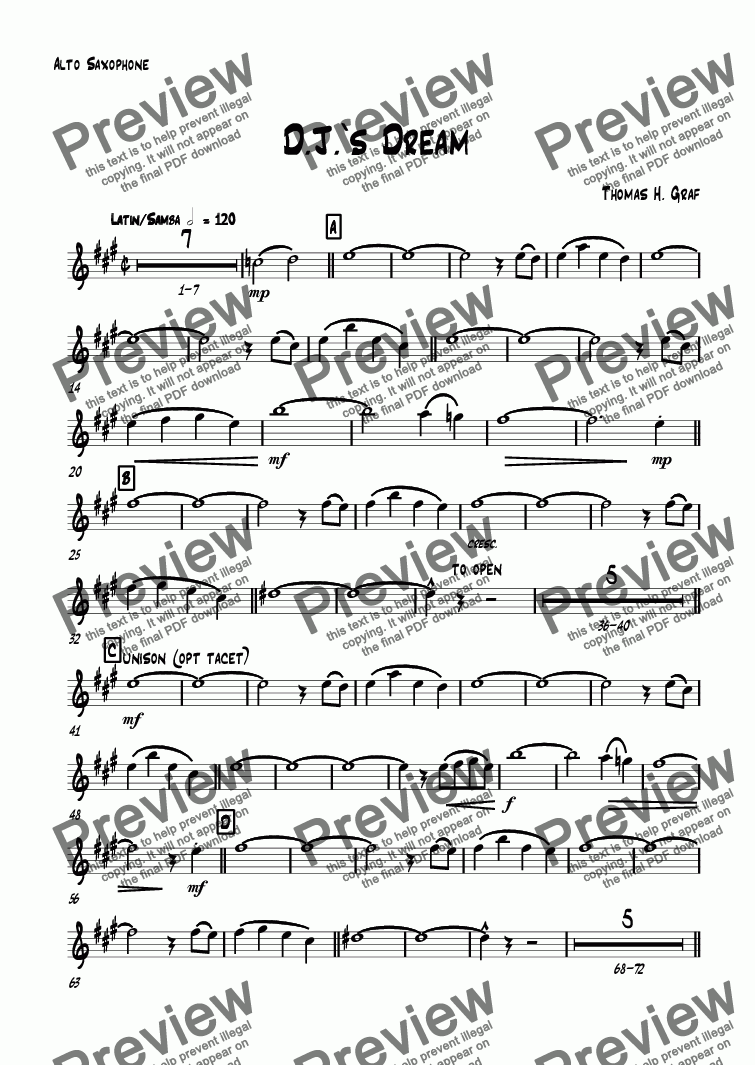 page one of the Alto Saxophone part from D.J.'s Dream - Latin - Big Band - see live recording!