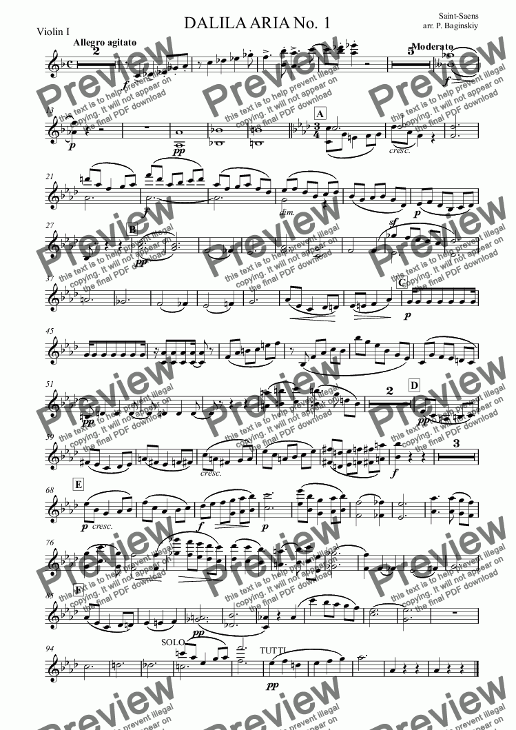page one of the Violin I part from Dalila aria