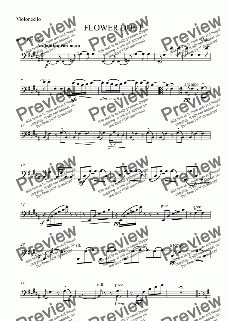 page one of the Violoncello part from Flower duet