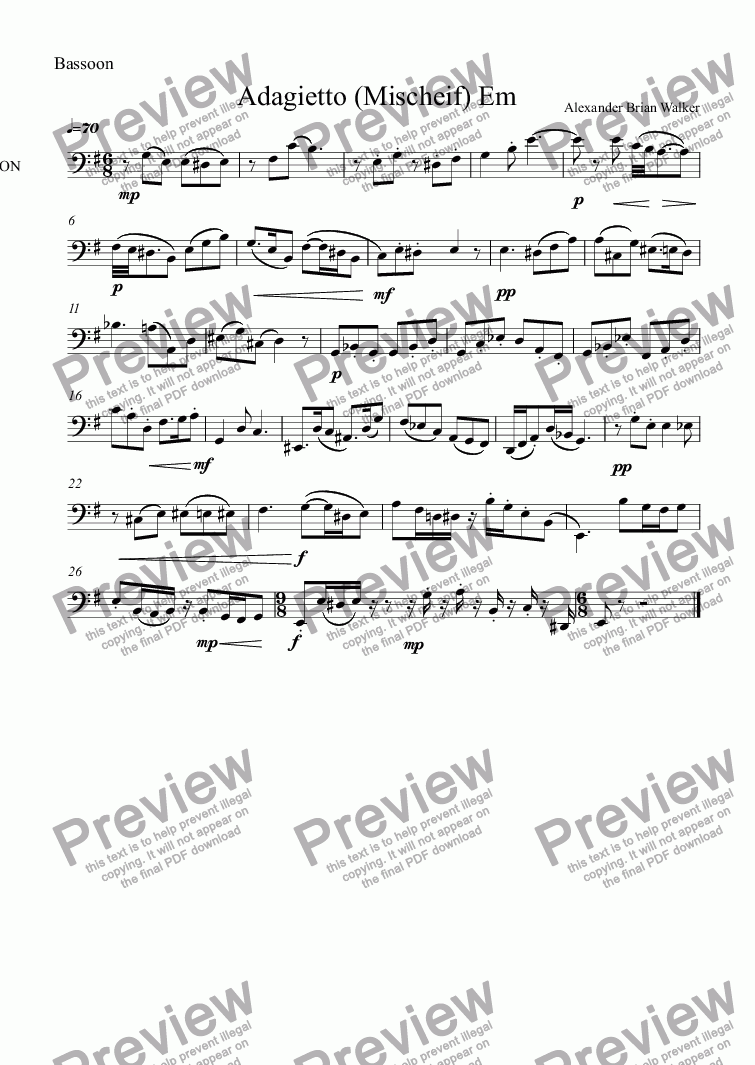 page one of the Bassoon part from  Mischief No 2:  Adagietto (Em) - Duet Oboe and Bassoon