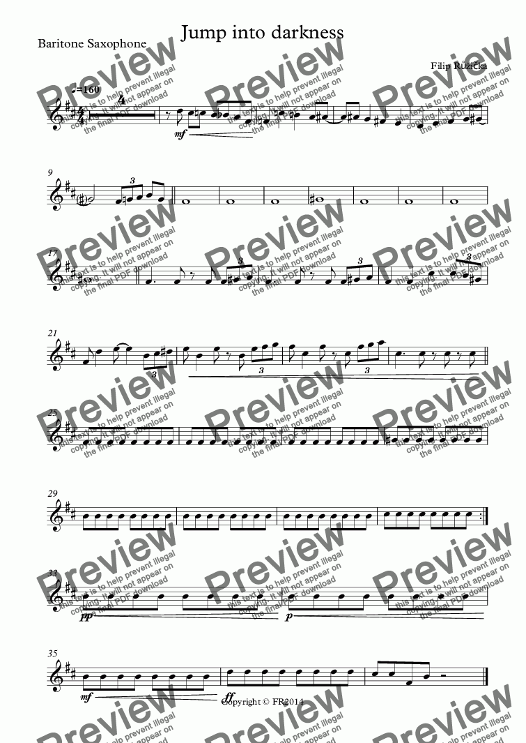 page one of the Baritone Saxophone part from Jump into darkness